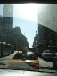 Driving through Manhattan streets on our way to the Remember the Triangle Fire Rally