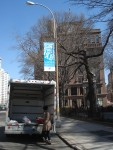 Getting set up next to Cooper Union Square, with the Cooper Union Building in the background
